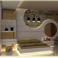 Özel tasarım yatak odası çizimi.